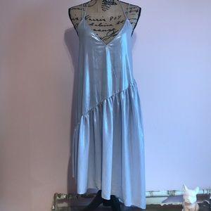 Anthropologie Metallic asymmetrical hem dress.